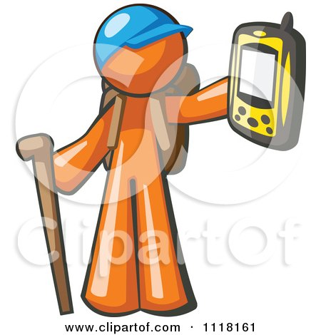 Cartoon Of A Geocaching Orange Man Hiker Holding Out A Gps Device - Royalty Free Vector Clipart by Leo Blanchette