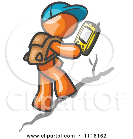 Geocaching Orange Man Hiker Using A Gps Device Posters, Art Prints