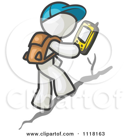 Cartoon Of A Geocaching White Man Hiker Using A Gps Device - Royalty Free Vector Clipart by Leo Blanchette