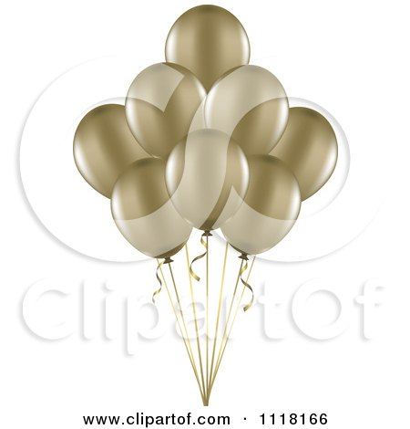 Clipart Of 3d Metallic Gold Party Balloons And Ribbons - Royalty Free Vector Illustration by KJ Pargeter