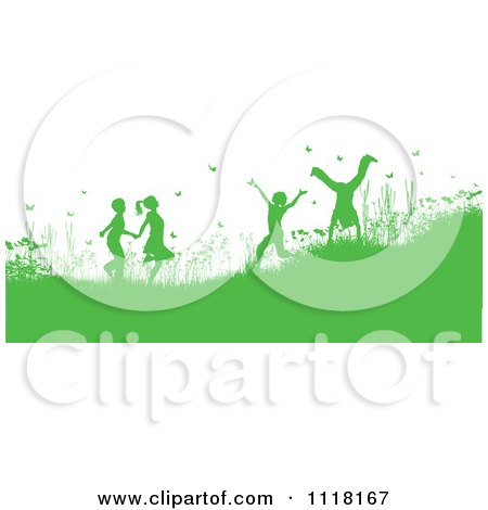Clipart Of Green Silhouetted Happy Children Playing In A Meadow With Flowers And Butterflies - Royalty Free Vector Illustration by KJ Pargeter