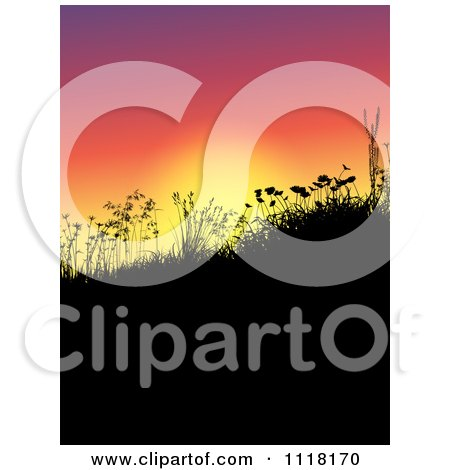 Clipart Of Silhouetted Grass Weeds And Wildflowers On A Hill At Sunset - Royalty Free Vector Illustration by KJ Pargeter