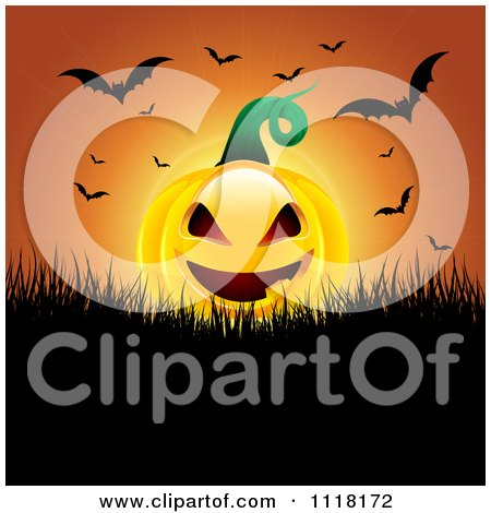 Clipart Of An Evil Halloween Jackolantern Pumpkin With Flying Bats Against An Orange Sunset - Royalty Free Vector Illustration by KJ Pargeter