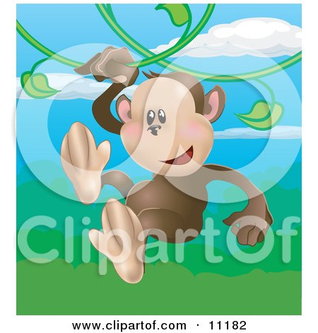 Happy Little Monkey Swinging on Vines in a Rainforest Clipart Illustration by AtStockIllustration