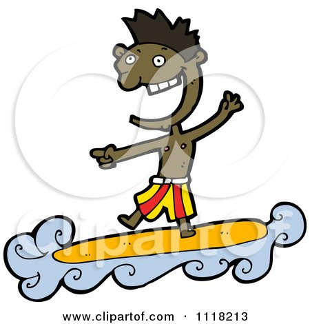 Vector Cartoon Of A Laughing Black Surfer Man Riding A Wave And Pointing - Royalty Free Clipart Graphic by lineartestpilot