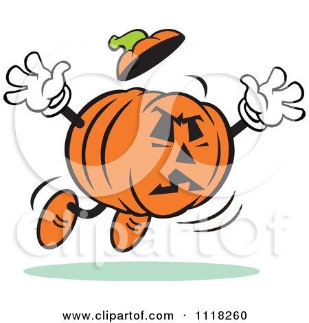 Cartoon Of A Halloween Jackolantern Jumping To Frighten - Royalty Free Vector Clipart by Johnny Sajem