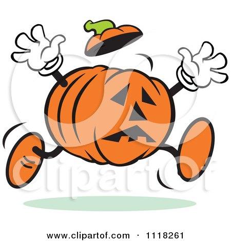 Cartoon Of A Scared Halloween Jackolantern Running ...