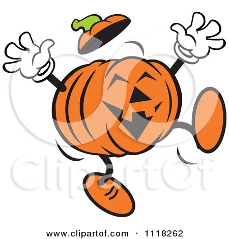 Cartoon Of A Happy Halloween Jackolantern Jumping - Royalty Free Vector Clipart by Johnny Sajem