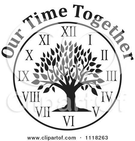 Cartoon Of A Black And White Family Reunion Tree Clock With Our Time Together Text - Royalty Free Vector Clipart by Johnny Sajem