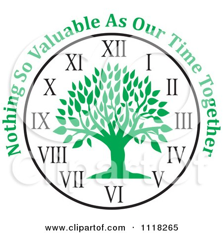 Cartoon Of A Green Family Tree Clock With Nothing So Valuable As Our Time Together Text - Royalty Free Vector Clipart by Johnny Sajem