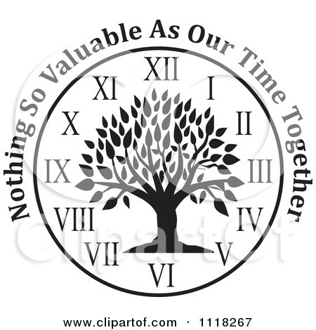 Cartoon Of A Black And White Family Tree Clock With Nothing So Valuable As Our Time Together Text - Royalty Free Vector Clipart by Johnny Sajem