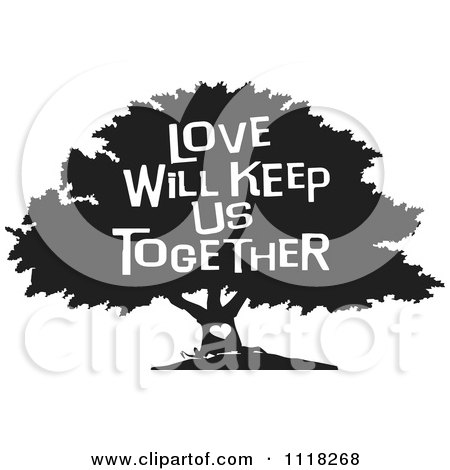 Cartoon Of A Black And White Family Tree With A Heart And Love Will Keep Us Together Text - Royalty Free Vector Clipart by Johnny Sajem