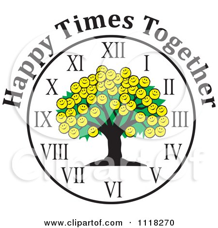 Cartoon Of A Smiley Face Family Reunion Tree Clock With Happy Times Together Text - Royalty Free Vector Clipart by Johnny Sajem