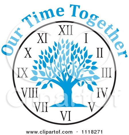 Cartoon Of A Blue Family Reunion Tree Clock With Our Time Together Text - Royalty Free Vector Clipart by Johnny Sajem