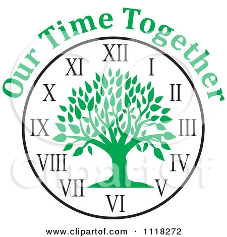 Cartoon Of A Green Family Reunion Tree Clock With Our Time Together Text - Royalty Free Vector Clipart by Johnny Sajem