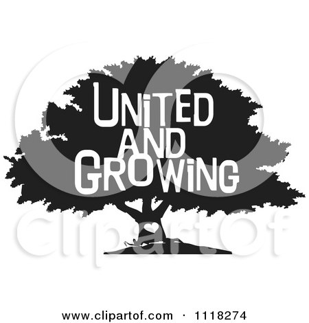 Cartoon Of A Black And White Family Tree With A Heart And United And Growing Text - Royalty Free Vector Clipart by Johnny Sajem