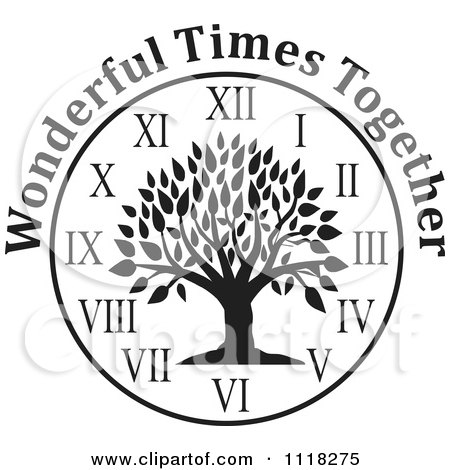 Cartoon Of A Black And White Family Reunion Tree Clock With Wonderful Times Together Text - Royalty Free Vector Clipart by Johnny Sajem
