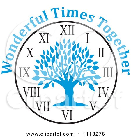 Cartoon Of A Blue Family Reunion Tree Clock With Wonderful Times Together Text - Royalty Free Vector Clipart by Johnny Sajem