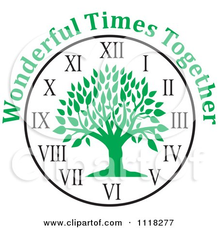 Cartoon Of A Green Family Reunion Tree Clock With Wonderful Times Together Text - Royalty Free Vector Clipart by Johnny Sajem