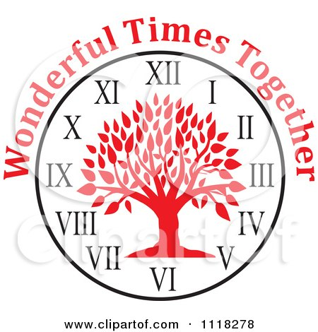 Cartoon Of A Red Family Reunion Tree Clock With Wonderful Times Together Text - Royalty Free Vector Clipart by Johnny Sajem