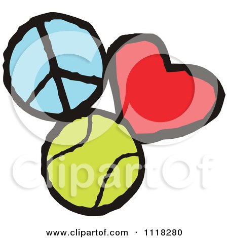Cartoon Of Peace Love Tennis Graphics - Royalty Free Vector Clipart by Johnny Sajem