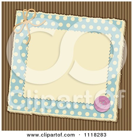 Clipart Of A Brown And Blue Polka Dot Corrugated Cardboard Scrapbook Page With A Button - Royalty Free Vector Illustration by elaineitalia