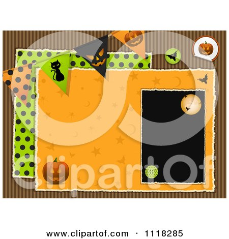 Clipart Of A Halloween Bunting Scrapbook Page With Corrugated Cardboard - Royalty Free Vector Illustration by elaineitalia