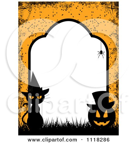 Clipart Of A Grungy Orange Halloween Tombstone Frame Of A Witch Cat And Jackolantern With Copyspace - Royalty Free Vector Illustration by elaineitalia