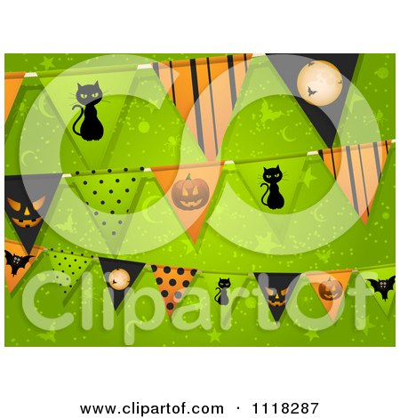 Clipart Of Halloween Party Bunting Flag Decorations Over Green - Royalty Free Vector Illustration by elaineitalia