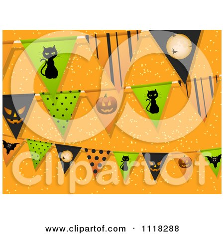 Clipart Of Halloween Party Bunting Flag Decorations Over Orange - Royalty Free Vector Illustration by elaineitalia