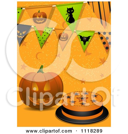 Clipart Of A Halloween Jackolantern Pumpkin With A Cake Stars And Party Buntings On Orange - Royalty Free Vector Illustration by elaineitalia