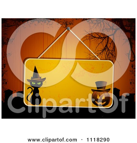 Clipart Of A Hanging Halloween Sign On Grungy Wood Panels With Graves And A Noose - Royalty Free Vector Illustration by elaineitalia