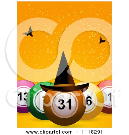 Clipart Of 3d Halloween Bingo Balls With A Witch Hat And Bats On Orange - Royalty Free Vector Illustration by elaineitalia