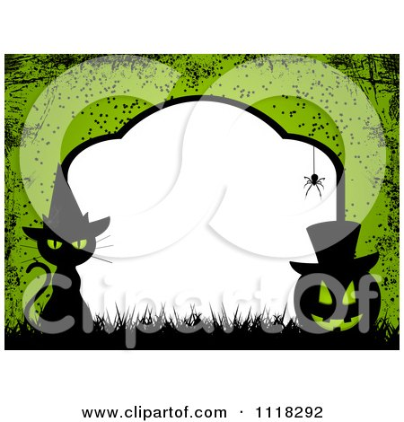 Clipart Of A Grungy Green Halloween Tombstone Frame Of A Witch Cat And Jackolantern With Copyspace - Royalty Free Vector Illustration by elaineitalia