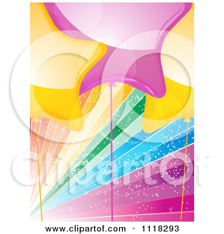 Clipart Of Yellow And Pink Star Party Balloons Over Sparkly Rainbow Rays - Royalty Free Vector Illustration by elaineitalia