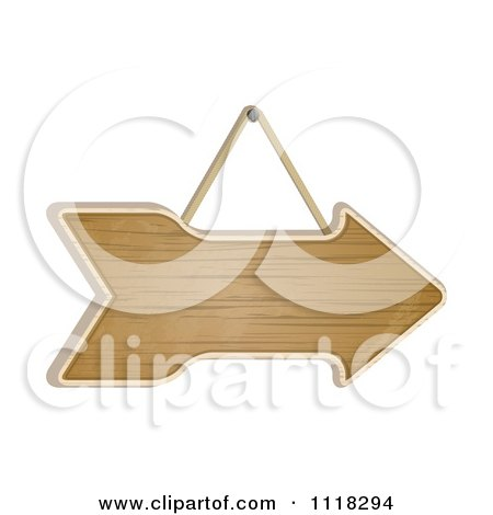 Clipart Of A Suspended Wooden Arrow Sign - Royalty Free Vector Illustration by elaineitalia