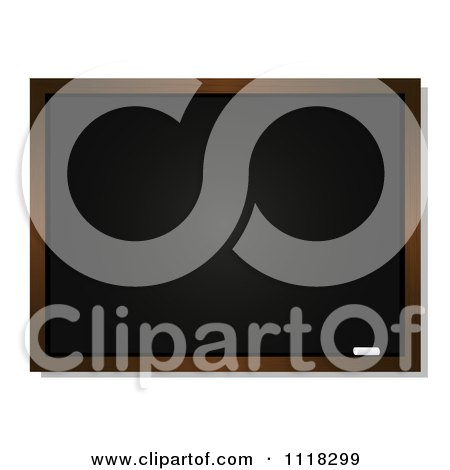 Clipart Of A Piece Of Chalk Resting On A Tray Of A Black Board - Royalty Free Vector Illustration by elaineitalia