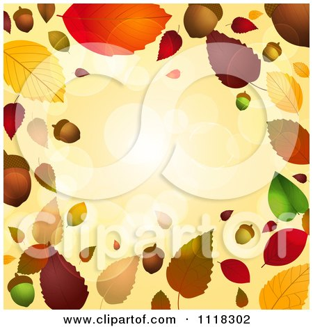 Clipart Of An Autumn Border Of Acorns And Fall Leaves With Flares - Royalty Free Vector Illustration by elaineitalia