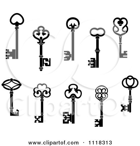 Clipart Of Black And White Antique Skeleton Keys - Royalty Free Vector Illustration by Vector Tradition SM