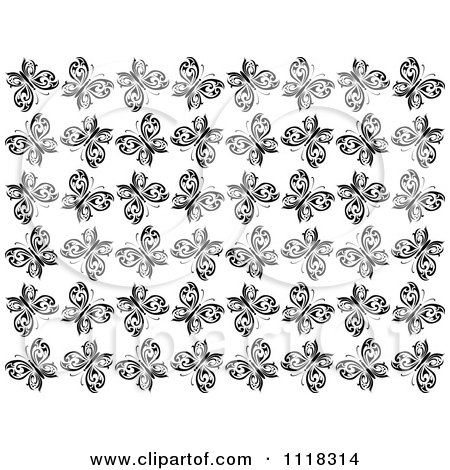 Clipart Of A Black And White Butterfly Seamless Background Pattern - Royalty Free Vector Illustration by Vector Tradition SM