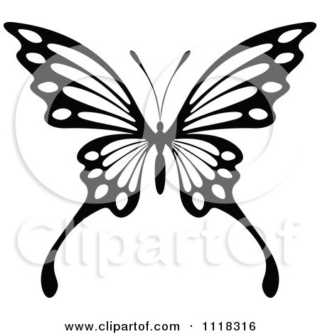 Clipart Of A Black And White Butterfly 8 - Royalty Free Vector Illustration by Vector Tradition SM