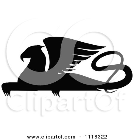 Clipart Of A Black Silhouetted Resting Griffin 1 - Royalty Free Vector Illustration by Vector Tradition SM