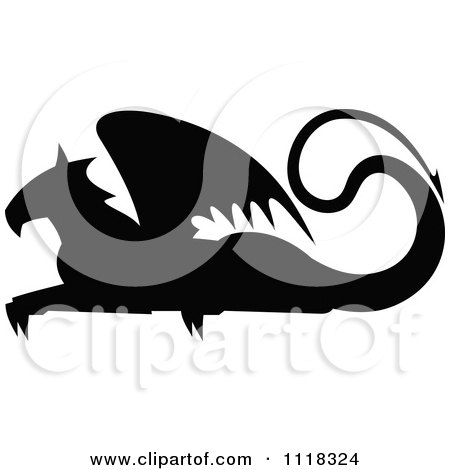 Clipart Of A Black Silhouetted Resting Griffin 3 - Royalty Free Vector Illustration by Vector Tradition SM