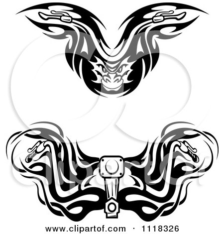 Clipart Of Black And White Tribal Motorcycle Handle Bars - Royalty Free Vector Illustration by Vector Tradition SM