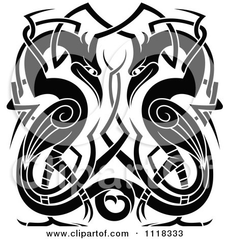 Clipart Of Black And White Celtic Herons 1 - Royalty Free Vector Illustration by Vector Tradition SM