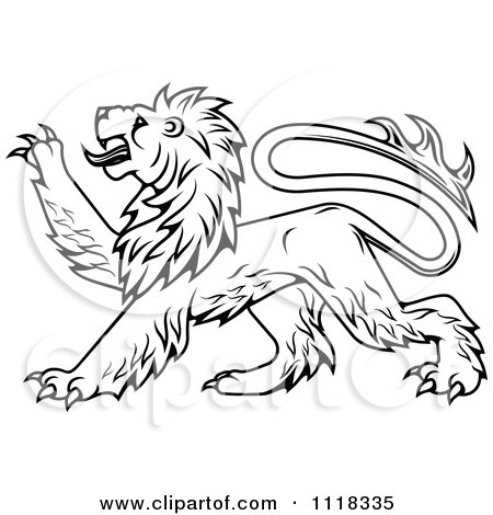 Clipart Of A Black And White Heraldic Lion Clawing - Royalty Free Vector Illustration by Vector Tradition SM