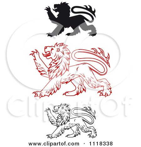 Clipart Of Heraldic Lions Clawing - Royalty Free Vector Illustration by Vector Tradition SM