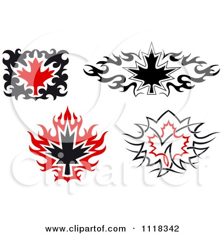 Clipart Of Black And Red Tribal Maple Leaves 2 - Royalty Free Vector Illustration by Vector Tradition SM