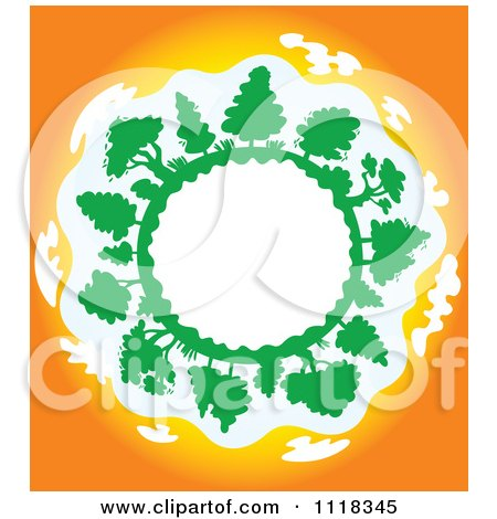 Clipart Of A Globe Frame With Trees At Sunset - Royalty Free Vector Illustration by Vector Tradition SM