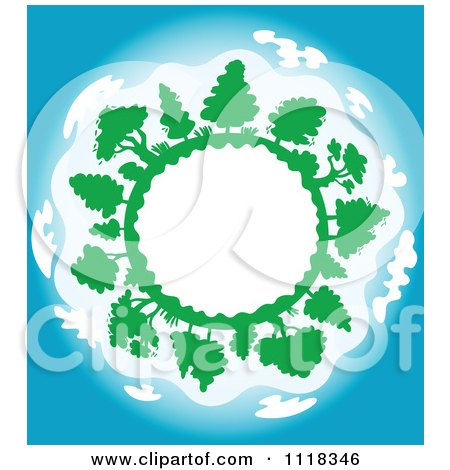 Clipart Of A Globe Frame With Trees And Blue Skies - Royalty Free Vector Illustration by Vector Tradition SM